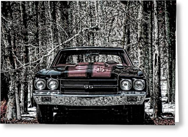 Vintage Car Art Chevy Chevelle Ss Selective Greeting Card by Lesa Fine