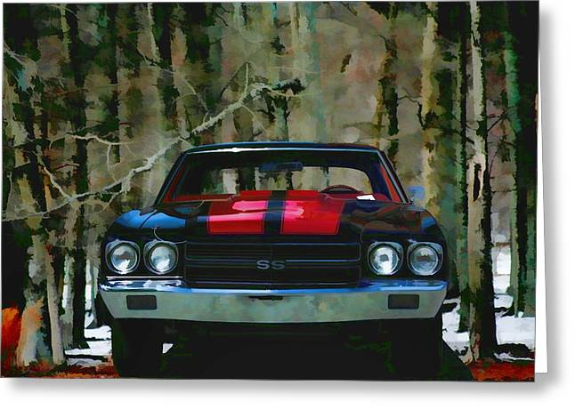 Vintage Car Art Chevy Chevelle Ss Watercolor Greeting Card by Lesa Fine