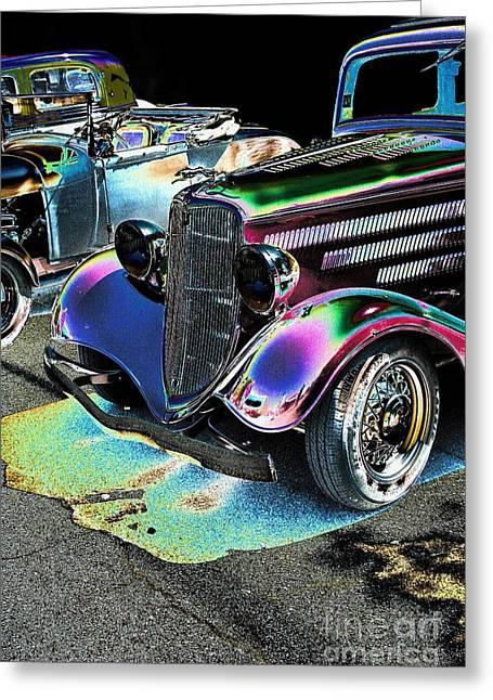 Vintage Ford Car Art Nbr 182 Neon Greeting Card by Lesa Fine