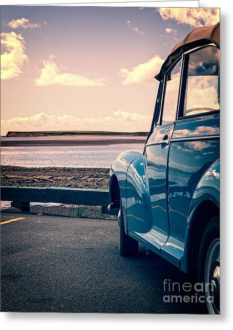 Vintage Car At The Beach  Greeting Card by Edward Fielding