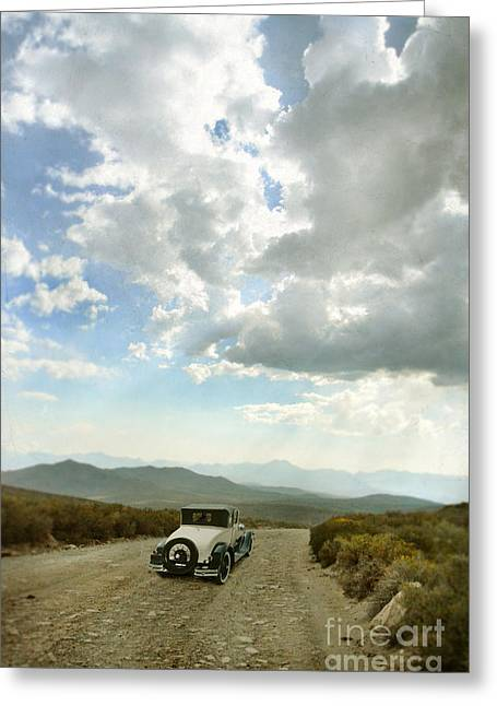 Vintage Car On Mountain Road Greeting Card