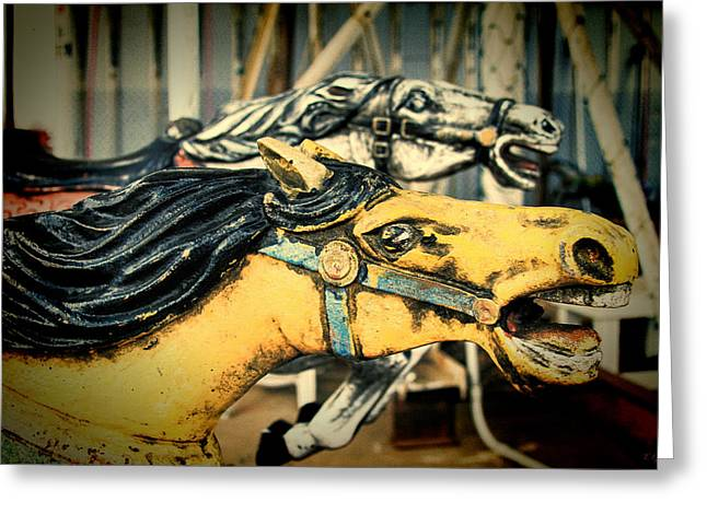 Vintage Carousel Horses 009 Greeting Card