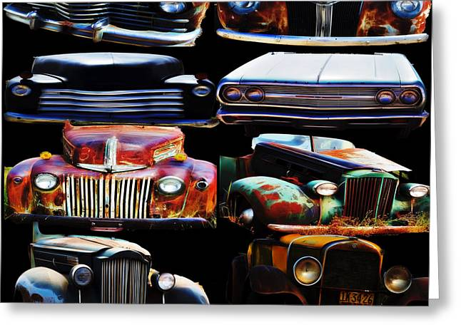 Vintage Cars Collage 2 Greeting Card by Cathy Anderson