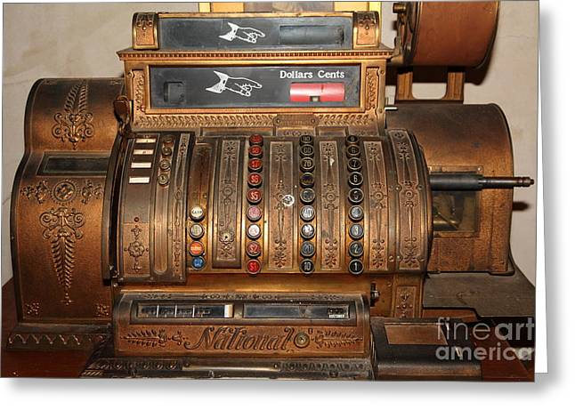 Vintage Cash Register In The Cellar Room At The Swiss Hotel In Sonoma California 5d24456 Greeting Card by Wingsdomain Art and Photography