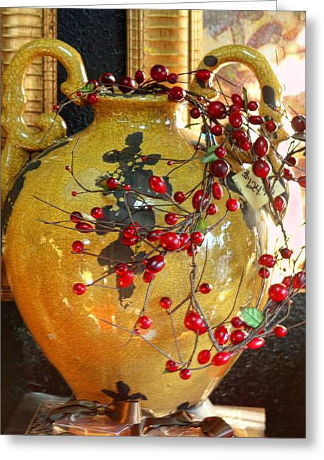 Vintage Ceramic Urn Greeting Card by Linda Phelps