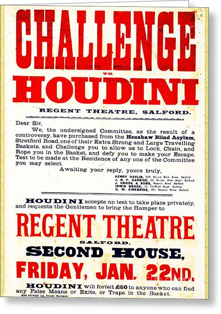 Vintage Challenge Houdini Poster Greeting Card