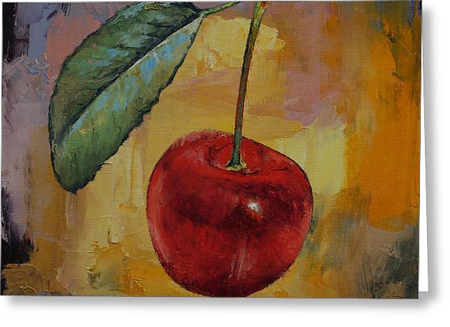 Vintage Cherry Greeting Card by Michael Creese