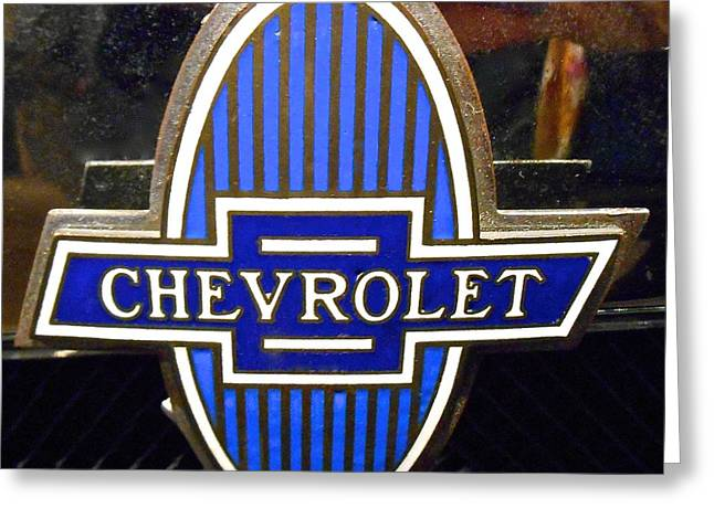 Vintage Chevrolet Logo Greeting Card by Joan Reese