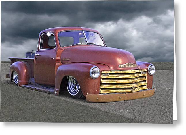 Vintage Chevy 1949 Greeting Card by Gill Billington