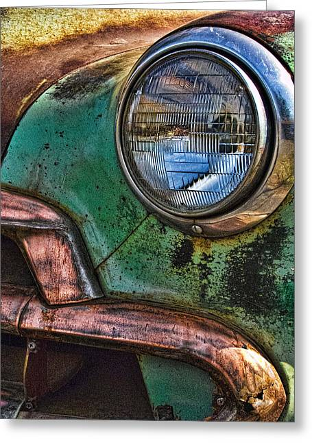 Vintage Chevy 3 Greeting Card by Nancy De Flon
