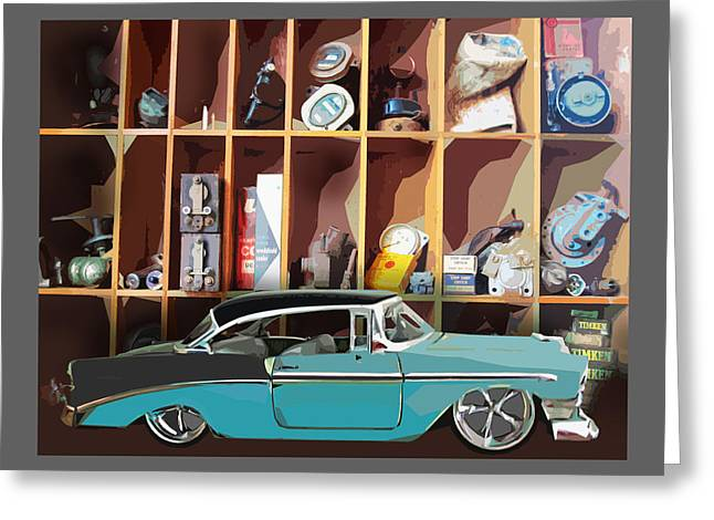 Vintage Chevy Belair With Retro Auto Parts Greeting Card