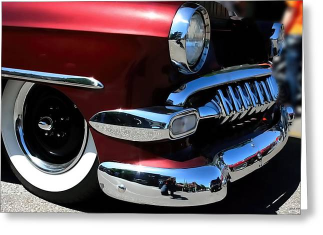 Vintage Chevy Grill  Toothy Chrome Greeting Card by Lesa Fine
