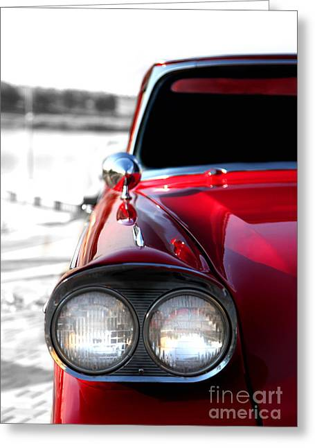 Vintage Chevy Red Greeting Card by Jennifer Mecca