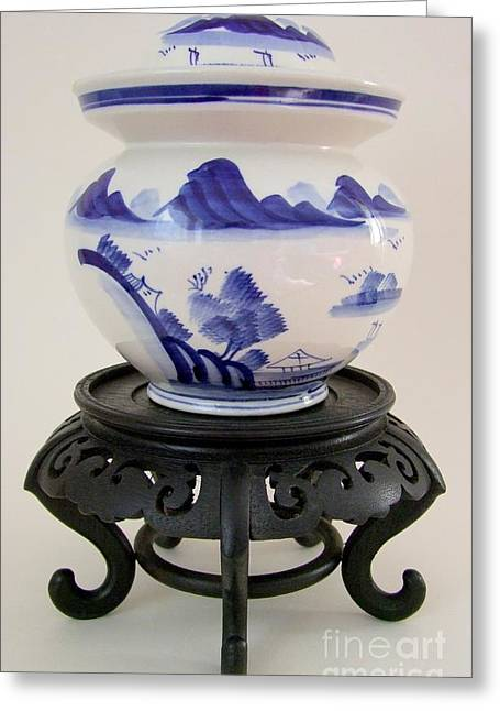 Pickling Greeting Cards - Vintage Chinese Pickling Jar Greeting Card by Mary Deal