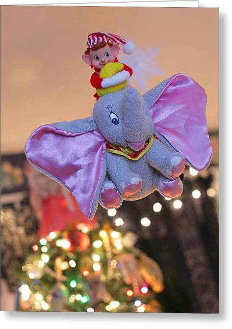 Vintage Christmas Elf Flying With Dumbo Greeting Card
