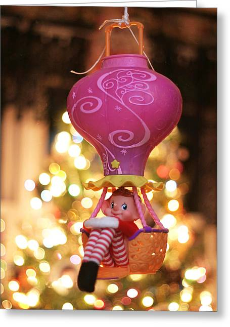 Vintage Christmas Elf Hot Air Balloon Ride Greeting Card
