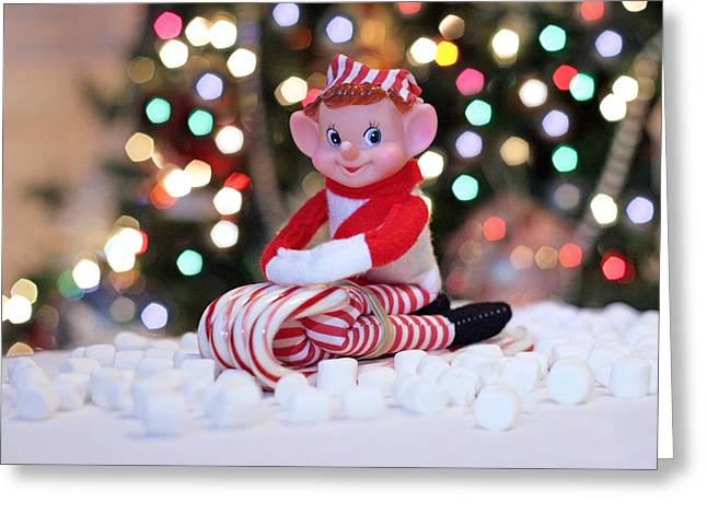 Greeting Card featuring the photograph Vintage Christmas Elf Sliding by Barbara West