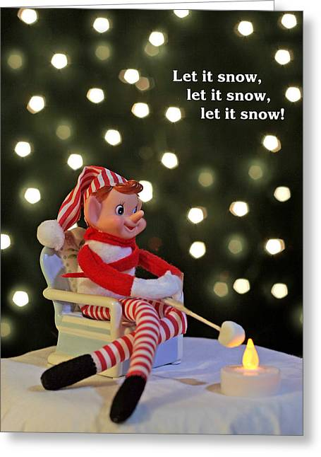 Vintage Christmas Elf Toasting A Marshmallow Greeting Card by Barbara West