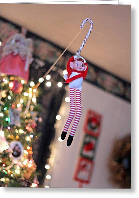 Greeting Card featuring the photograph Vintage Christmas Elf Zipline by Barbara West