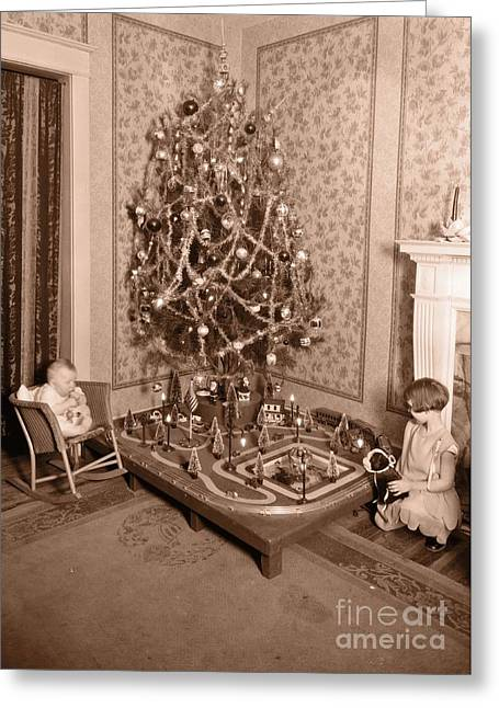 Vintage Christmas Tree Card Greeting Card by Edward Fielding