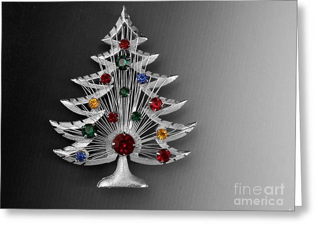 Vintage Christmas Tree Greeting Card by Jai Johnson