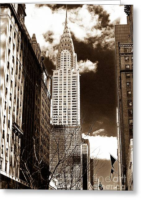 Vintage Chrysler Building Greeting Card by John Rizzuto