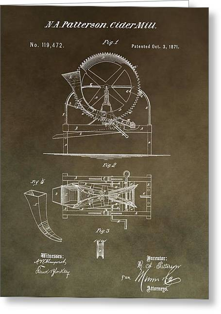 Vintage Cider Mill Patent Greeting Card