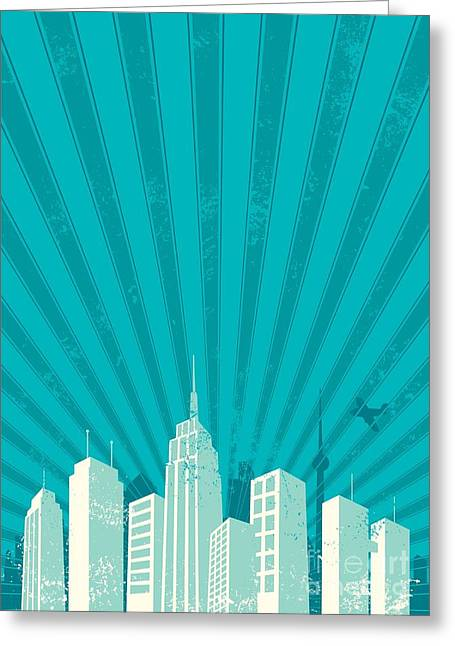 Vintage City Background. A4 Proportions Greeting Card