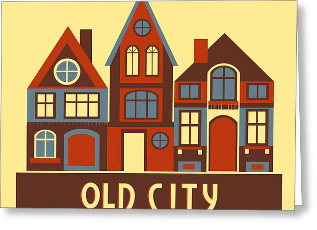 Vintage City Houses On Yellow Background Greeting Card