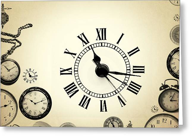 Vintage Clocks Greeting Card by Mark Ashkenazi