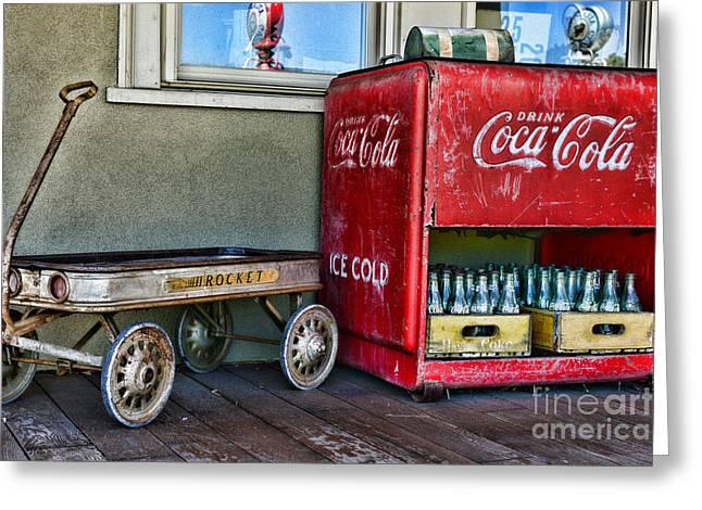 Vintage Coca-cola And Rocket Wagon Greeting Card by Paul Ward