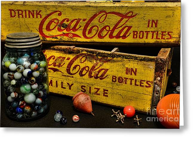 Vintage Coca Cola And Toys Greeting Card