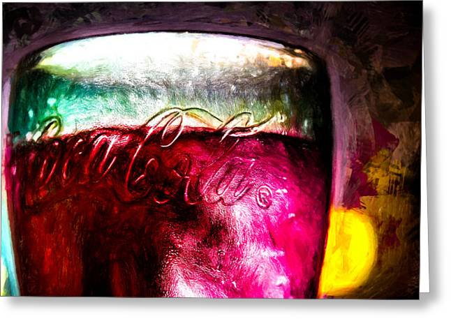 Vintage Coca Cola Glass With Ice Greeting Card by Bob Orsillo