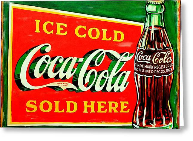 Vintage Coca-cola Sign Greeting Card by Karl Wagner