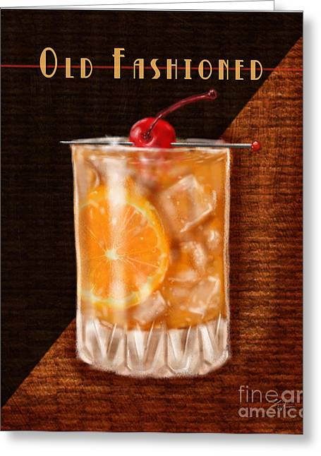 Vintage Cocktails-old Fashioned Greeting Card by Shari Warren