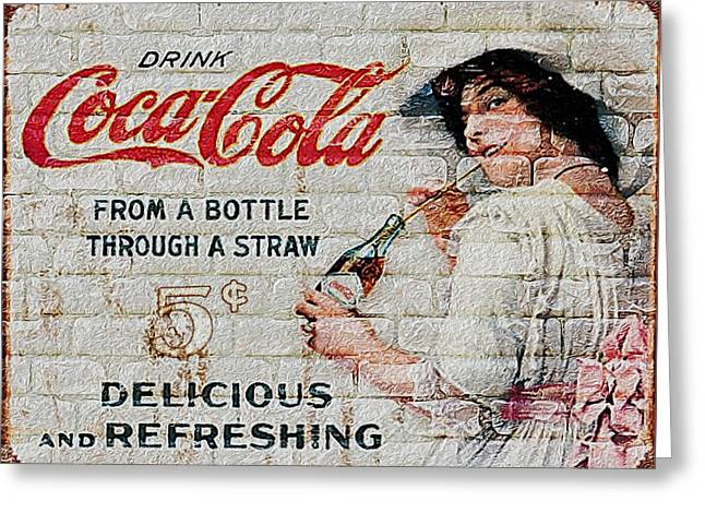 Vintage Coke Sign Greeting Card by Jack Zulli