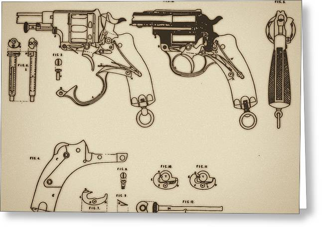 Vintage Colt Revolver Drawing Greeting Card by Nenad Cerovic