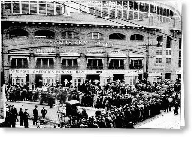 Vintage Comiskey Park - Historical Chicago White Sox Black White Picture Greeting Card