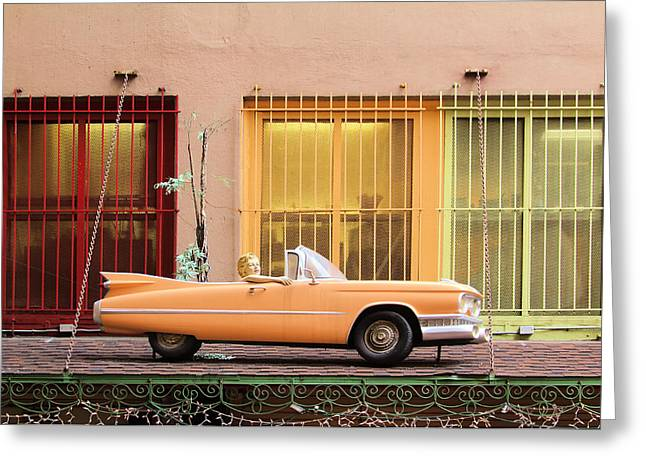 Vintage Convertible On The Roof Greeting Card