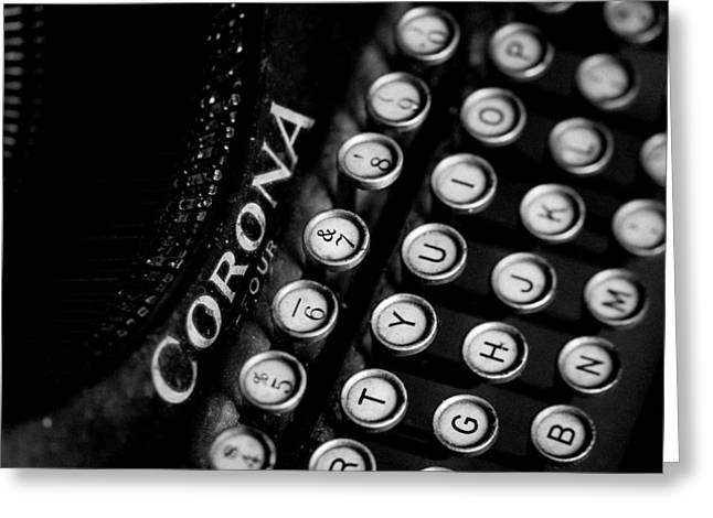 Vintage Corona Four Typewriter Greeting Card by Jon Woodhams