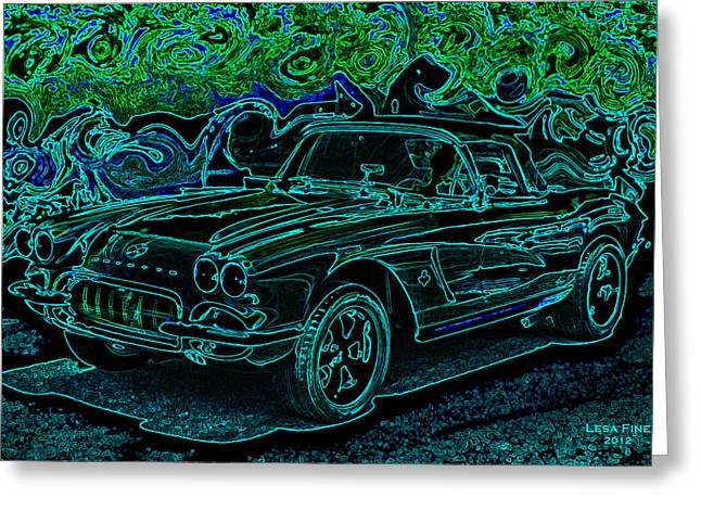 Vintage Corvette Green Neon Automotive Art Greeting Card