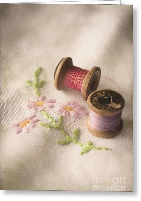 Vintage Cotton Reels Greeting Card by Jan Bickerton
