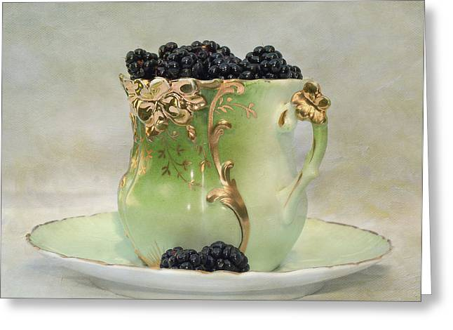 Vintage Cup O Berries Greeting Card