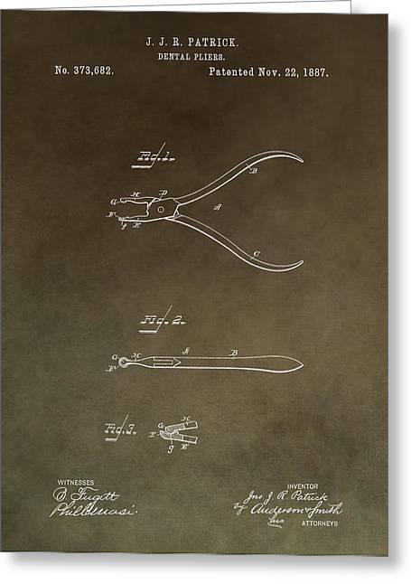 Vintage Dental Pliers Patent Greeting Card by Dan Sproul