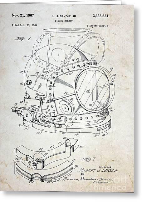Vintage Dive Helmet Blueprint Greeting Card by Paul Ward
