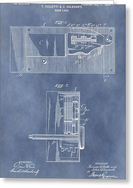 Vintage Door Lock Patent Greeting Card by Dan Sproul