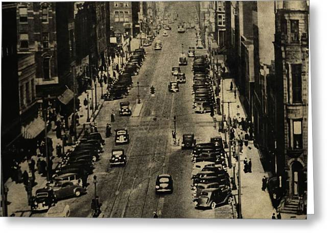 Vintage Downtown View Greeting Card by Dan Sproul