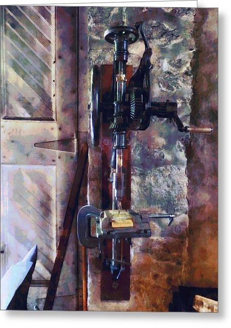 Vintage Drill Press Greeting Card by Susan Savad
