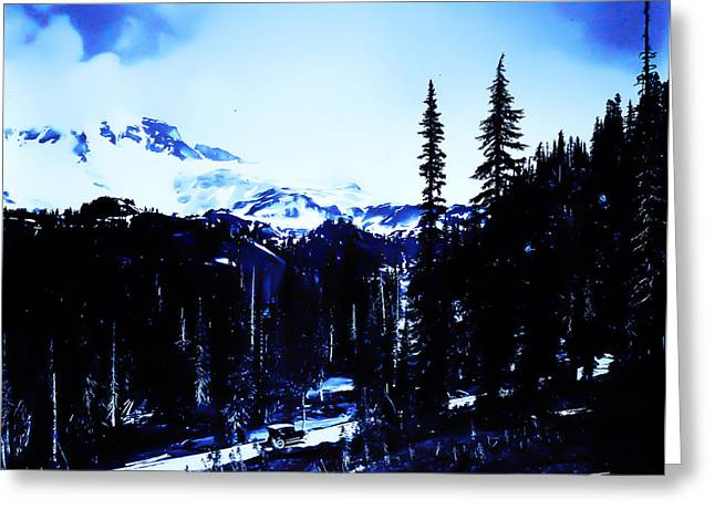 Vintage... Driving Up To Mount Rainier Early 1900 Era... Greeting Card by Eddie Eastwood