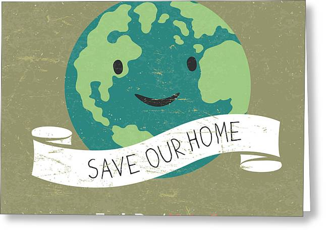 Vintage Earth Day Poster. Cartoon Earth Greeting Card by Pashabo